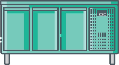En helt klassisk kølebord med 3 døre